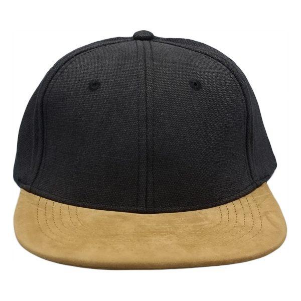suede klep snapback cap zwart