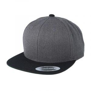 Tweekleurige klassieke Snapback cap houtskool-zwart