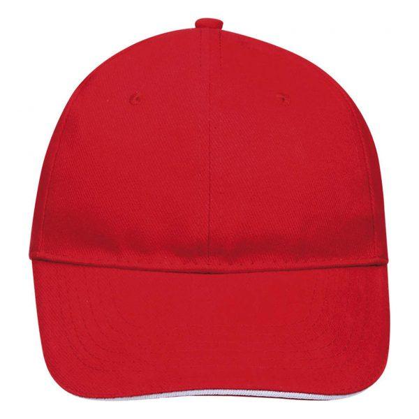 Cap red white 6panel